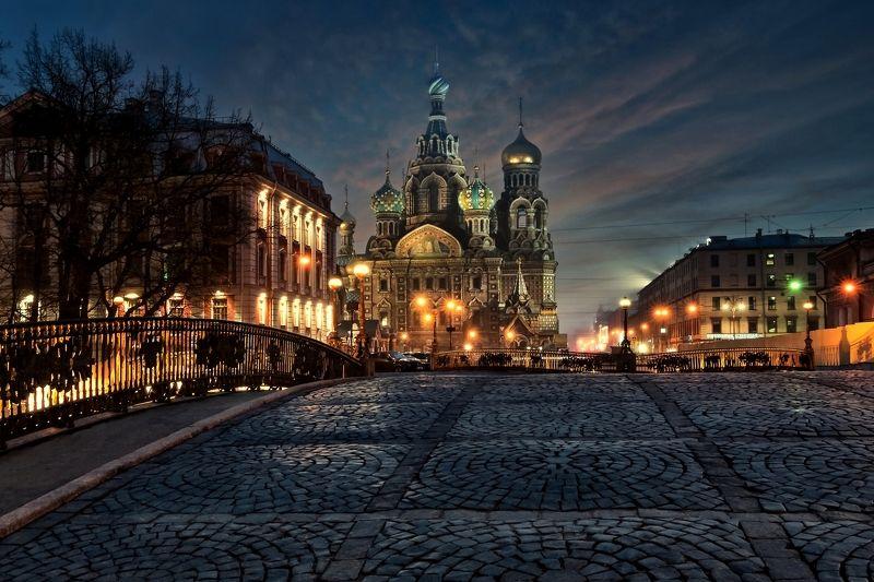 город,храм,собор,мост,вечер,огни,музей Спас на кровиphoto preview