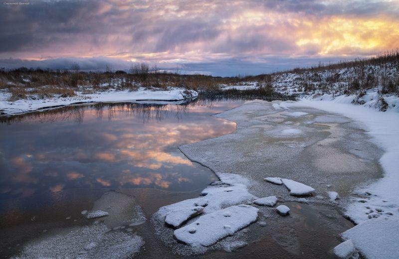 ноябрь, река, ручей, лед, закат Ноябрьский ледphoto preview