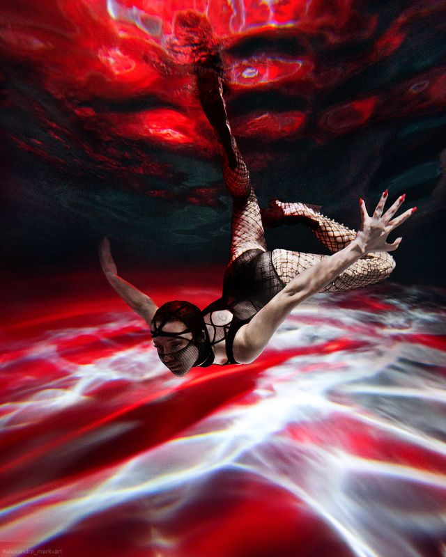 подводная съемка, под водой, under the water, underwater, in water,red, fashion, фэшн Под водойphoto preview
