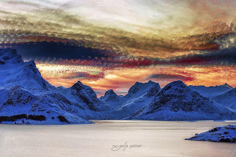 landscape, seascape, winter, beach, nature Timestacking of Lofotenphoto preview