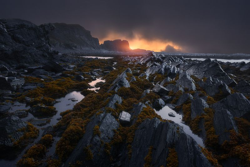 пейзаж, север, рыбачий Закат на мысе Кекурскийphoto preview
