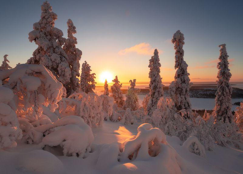 пейзаж,кольский,север,закат,свет,зима photo preview