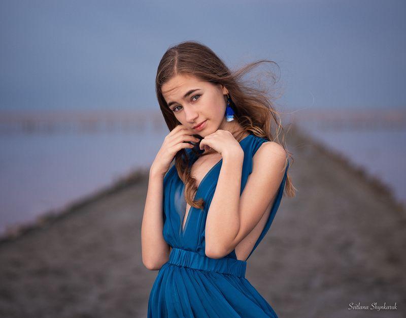 portrait, fragile, natural beauty, female portrait, little girl, blue Blue ladyphoto preview
