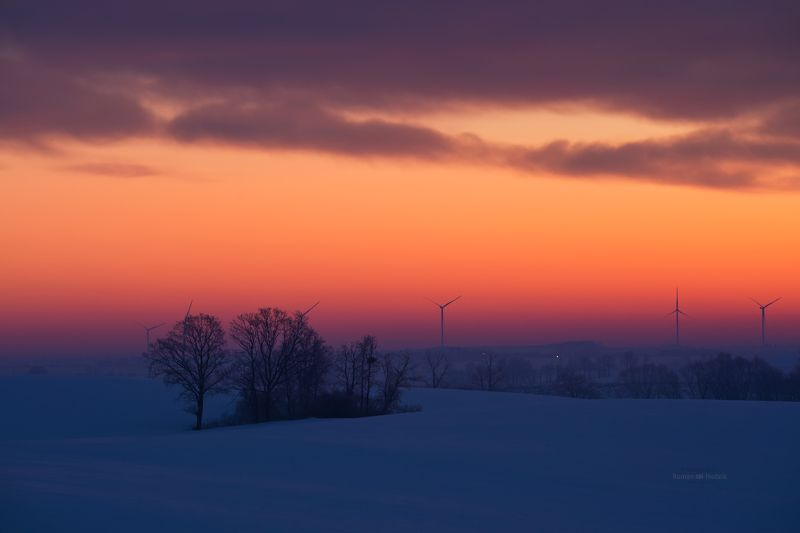 Zima, pejzaż, Polska, wschód słońca, chmury, pola  Winter фото превью