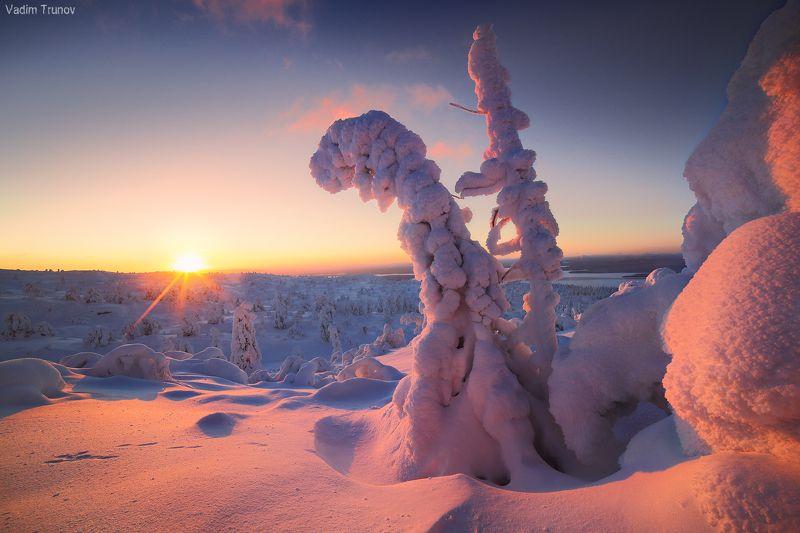 кольский, север, заполярье Восход плавно переходящий в закатphoto preview