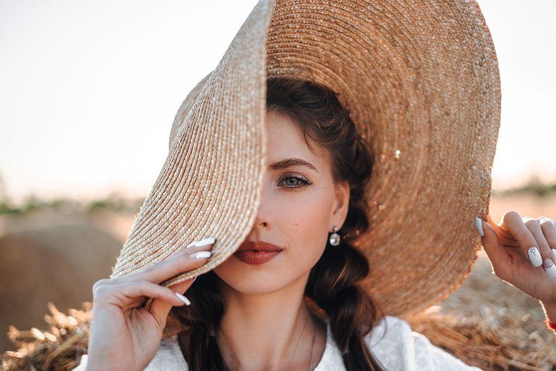 девушка, шляпа, свет, лето, photo preview