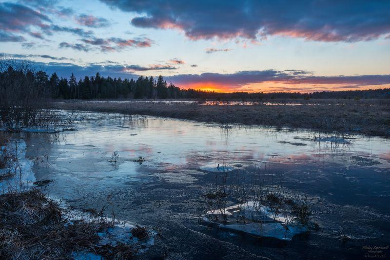 разлив, лед, закат, весна, река, ивановская область, ландех \
