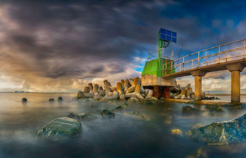 Baltic, Poland, landscape, sunset, sea, stones, clouds, Baltic фото превью