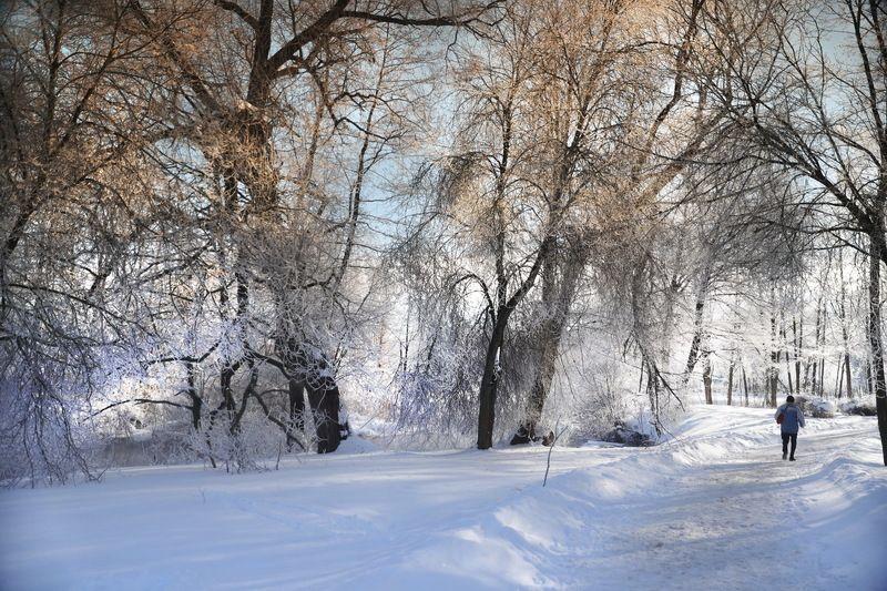 река, снег, утро Зима уходитphoto preview