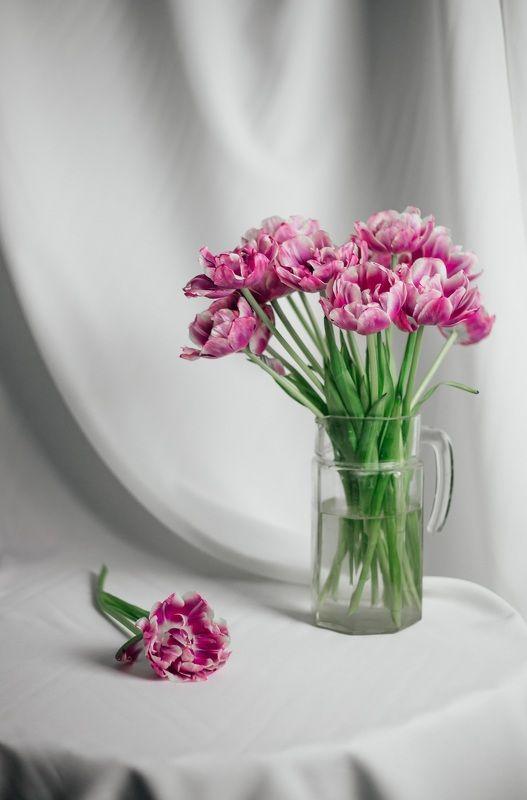 цветы, весна, натюрморт, тюльпаны, ваза, лепестки, стол, ткань Весенняя нежностьphoto preview
