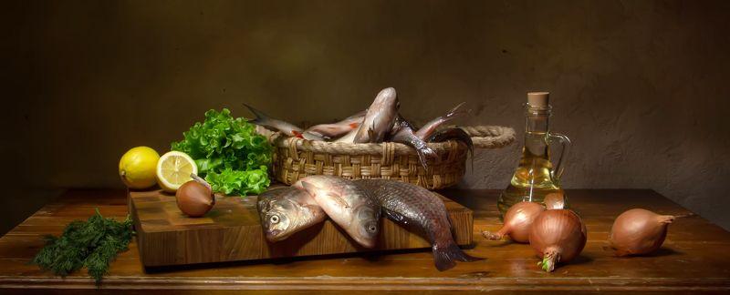 натюрморт, рыбка, зелень,  лимон Рыбка...photo preview