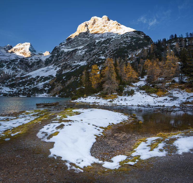 австрия, горы, озеро, снег, восход Австрийские Альпы.photo preview