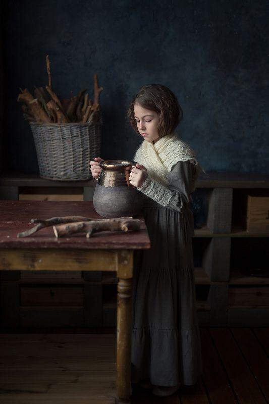 постановочная фотография, детский портрет, постановка, canon, 50mm Когда кувшин пустphoto preview