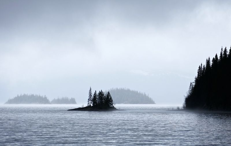 Landscapes, nature, lake, island, water, forest, Sweden, fog, mood, mist, trees,  Островphoto preview