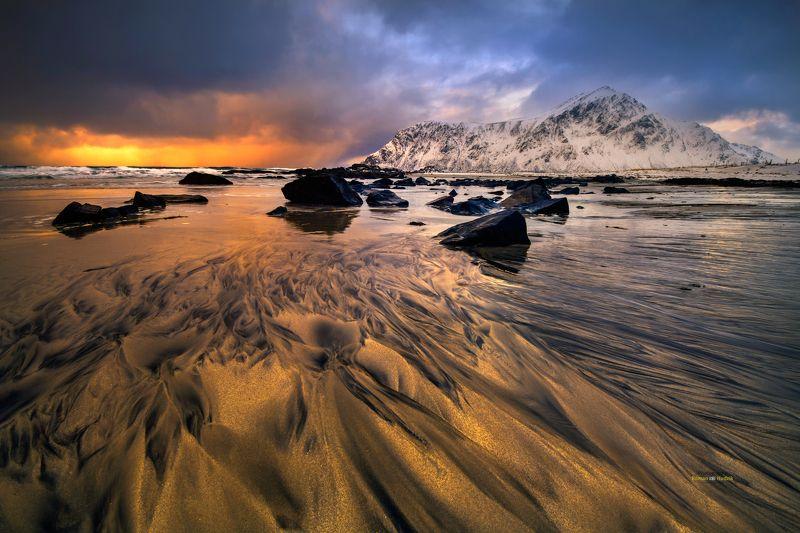 lofoten, landscape, sunrise, sunset, clouds, norway, sea Gold in Lofoten. фото превью