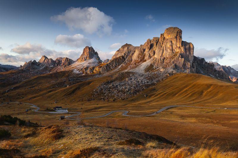 италия, доломиты, горы, облака, закат, осень, природа, landscape, italy, dolomites, passo di giau Passo di Giau.photo preview