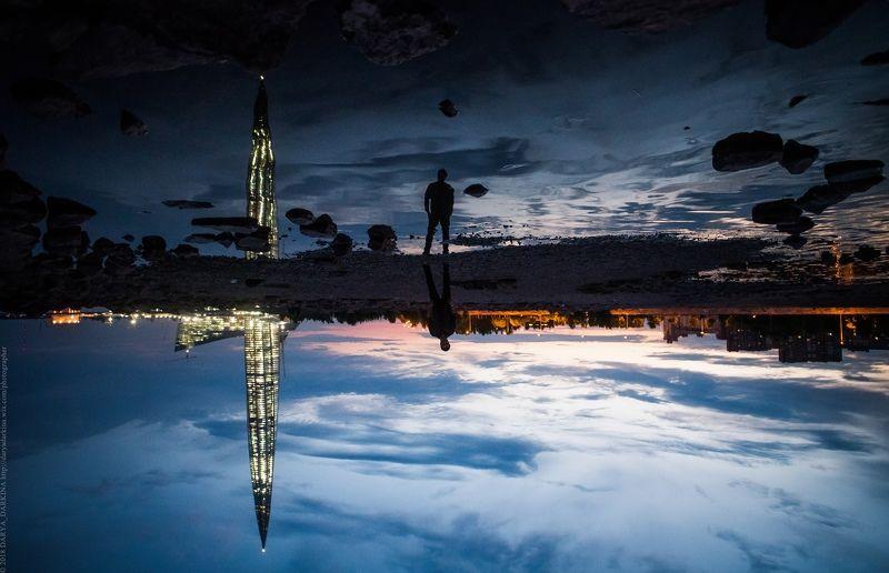 архитектура, город, ночь, пейзаж, отражение, небоскреб, человек, cityscape, city, streetphoto Миры.photo preview