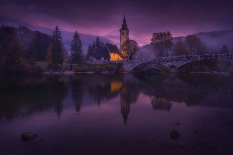 bohinj, slovenia, landscape, reflection, lake, church, fog, mist bohinj  фото превью