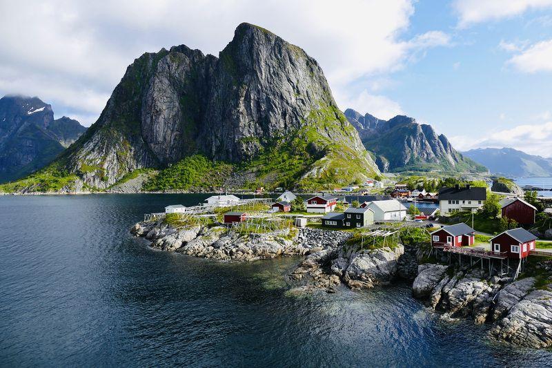Landscapes, Norway, Lofoten, nature, view, houses, water, ocean, Atlantic, Moskenes, Reine, mountain,  Летний Лофотенphoto preview