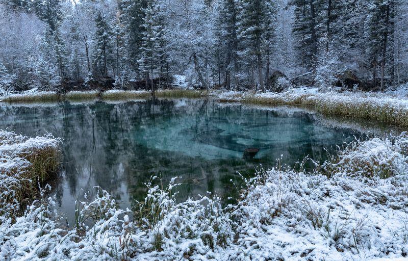 алтай, гейзерное озеро. Первый снег, Гейзерное озеро.photo preview