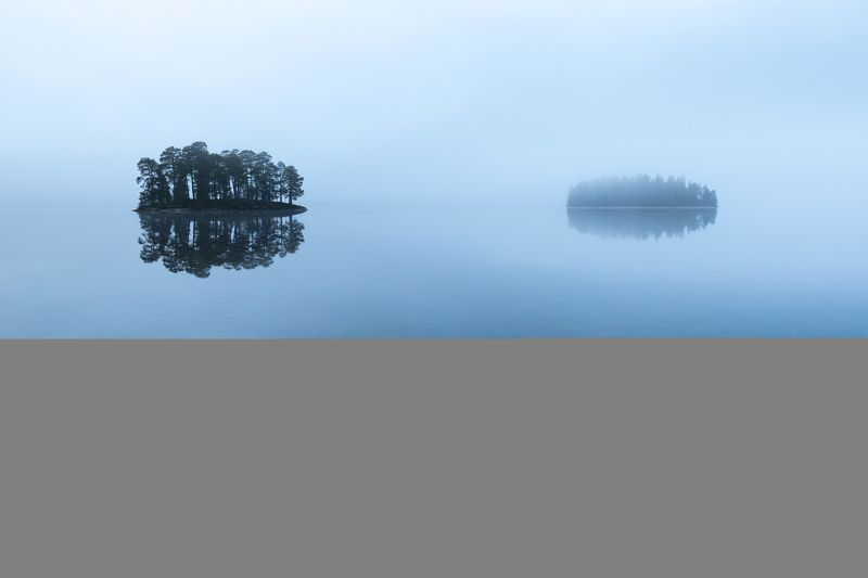 islands,lake,fog,foggy,woods,forest,woodland,lakeside,morning, Two, but lonelyphoto preview