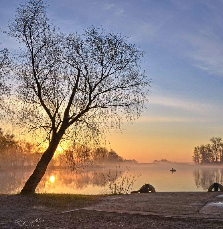 утро, восход, рассвет, март, весна, река, туман, рыбак Утро весеннего равноденствия фото превью