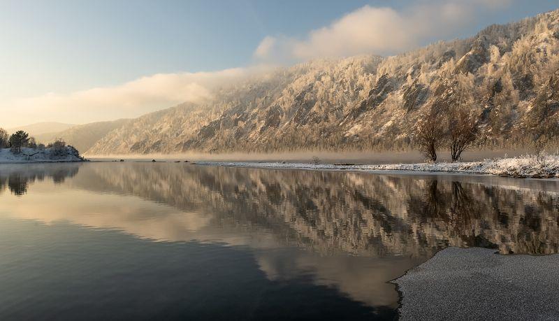 зима, мороз, вечер, закат,енисей. Вечернее отражение.photo preview
