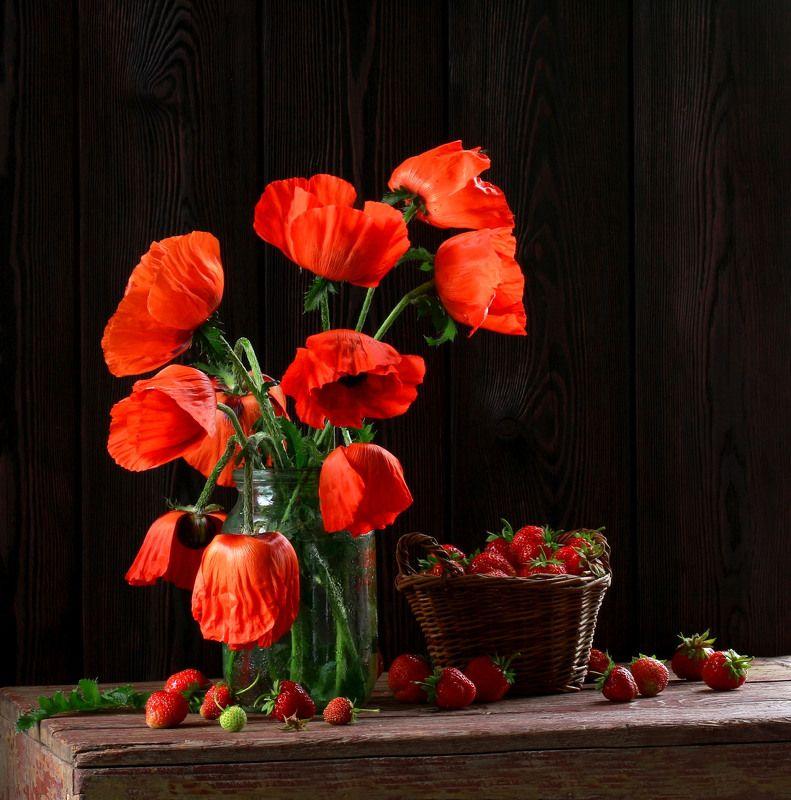 натюрморт, фотонатюрморт, лето, цветы, маки, ягода, клубника наталья казанцева Лето красноеphoto preview