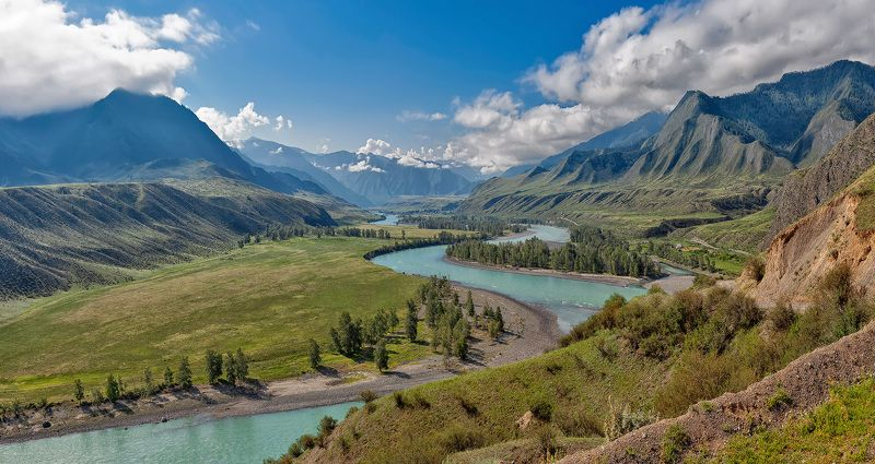 горы, алтай, туризм, катунь Утро в долине Катуниphoto preview