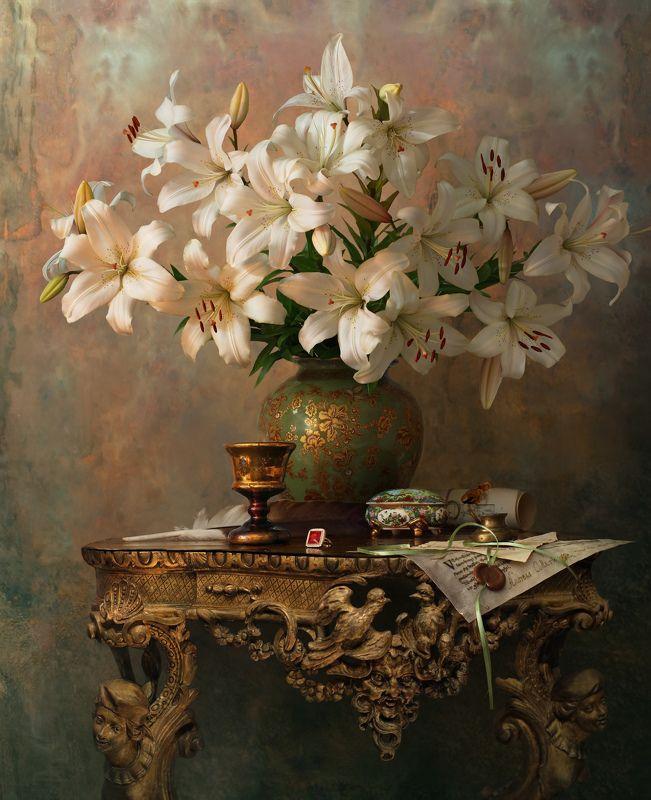цветы, лилии, букет Натюрморт с лилиями photo preview