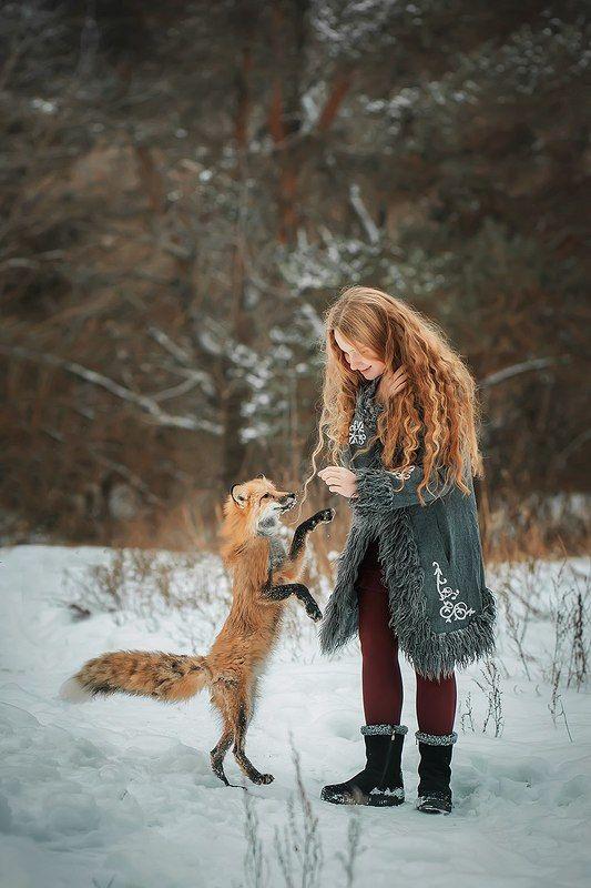 лиса, зима, рыжая, девочка, портрет, лес, прогулка, снег, милая, ребенок ***photo preview