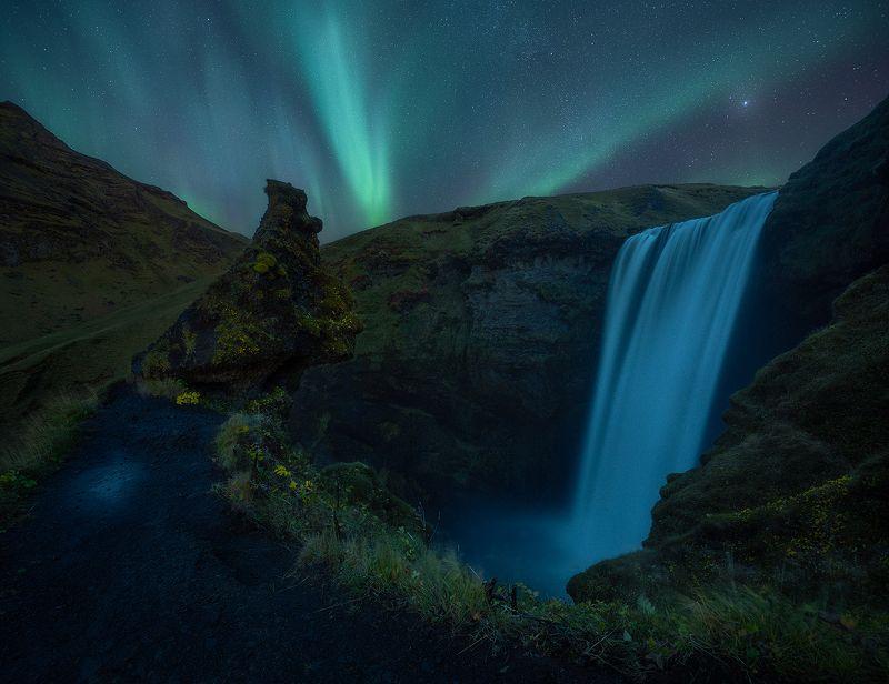 skogafoss, iceland, night, aurora, borealis, landscape, waterfall  skogafossphoto preview