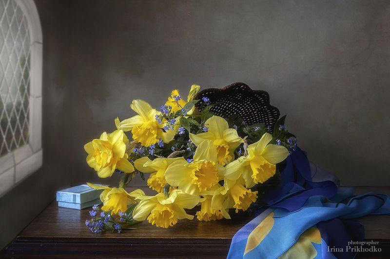 натюрморт, весна, цветы, настроение, винтажный, художественное фото, фотокартина Натюрморт с нарциссами и незабудкамиphoto preview