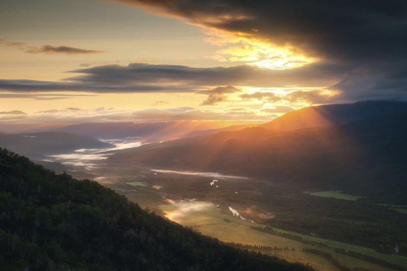 россия, камчатка, камчатский край, дальний восток, река, природа, пейзаж, лето, горы, долина, туман, рассвет, эссо, Эссоphoto preview