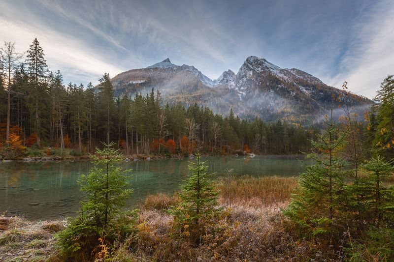 германия, бавария, озеро, горы, снег, хинтерзее, вацман Осенняя.photo preview