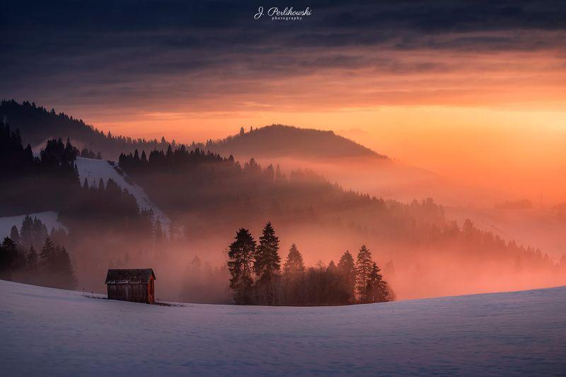 mountains, sunrise, landscape Burning Skyphoto preview