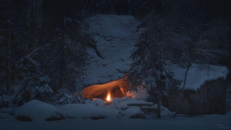 зима, костер, грот, лес, ночь, тайга Зимний костёрphoto preview