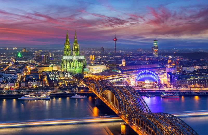 canon, color, postcard, picturesque, landmark, europe, germany, cologne, travel, urban, architecture, iconic, skyline Colorful Kölnphoto preview