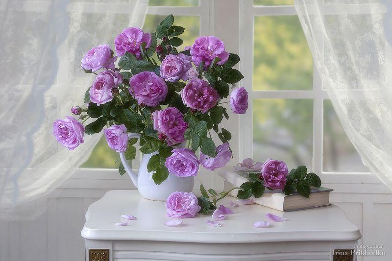 натюрморт, цветочный, винтажный, ретро, розы, цветы, букеты Нежное утроphoto preview