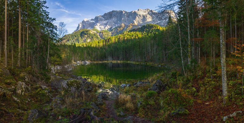 германия, бавария, озеро, отражение, горы, закат,  eibsee Осенняя идилия.photo preview
