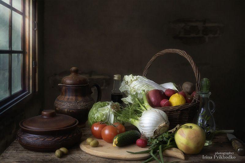 натюрморт, винтажный, овощи, фрукты,вегетарианский Натюрморт с овощамиphoto preview