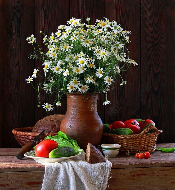натюрморт, фотонатюрморт, лето, цветы, ромашки, овощи, наталья казанцева Летом...photo preview
