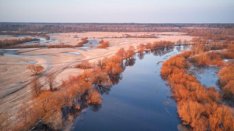 беларусь, весна, дронофото, март, поля, рассвет, река, свислочь, утро Свислочь. Весна приходитphoto preview