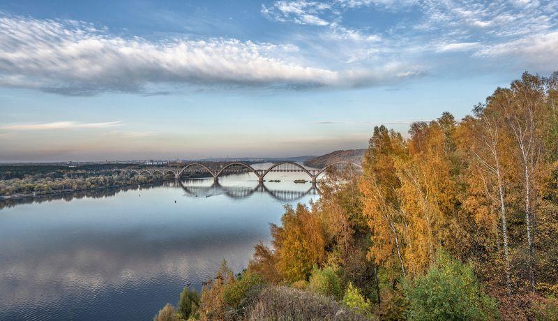 мост река осень небо берег деревья Нижний Новгород. Сартаковский мост.photo preview