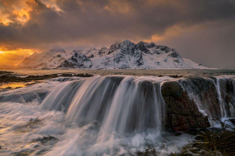 Lofoten, Norway, landscape, sea, clouds, water, sunrise, sunset Lofoty  фото превью