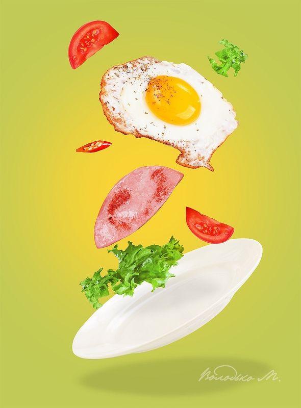 яичница,колбаса,помидор,завтрак Легкий завтракphoto preview