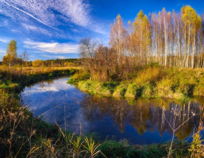 Осень, река, отражение, лес, облака, Клязьма Осеньphoto preview
