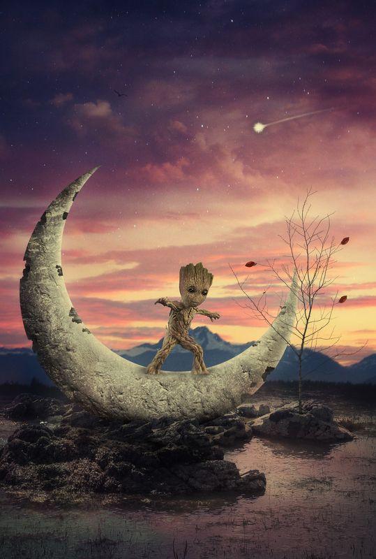 грут, луна, облака *****photo preview