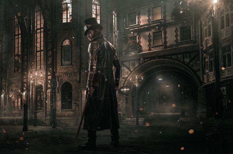 steampunk,man,portrait,dramatic,moody,dark,cinematic,composite,city,fantasy,sony,gun,night, Steampunkphoto preview