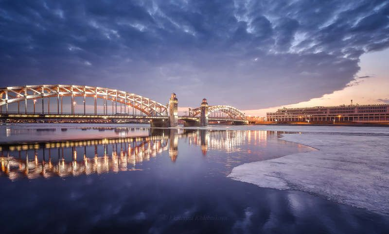 петербург, город, мост, вода, река, рассвет, пейзаж, закат Незадолго до рассветаphoto preview